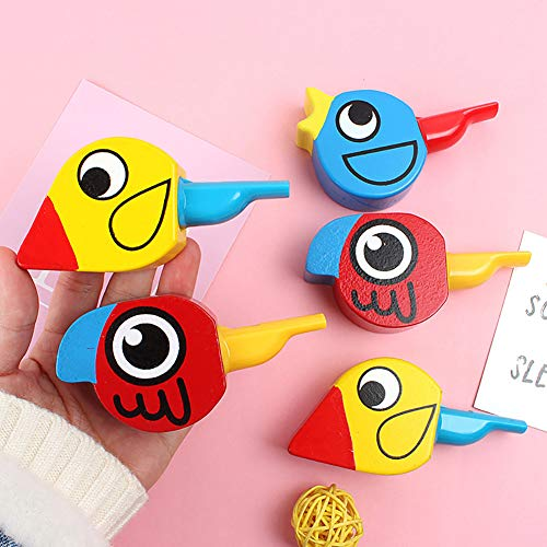 HsgbvictS Learning & Education Wooden Colorful Drawing Bird Shape Whistle Kids Developmental Toy Party Favor - Random Color