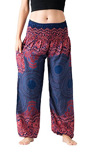 (vvProud Bohemian Clothes Smocked Waist Rose Flower Prints Harem Pants – Perfect for Yoga, Relaxation, Night Wears – Men, Women, Kids (Blue Rose))