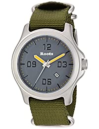 Roots Men's 'Core' Quartz Stainless Steel and Nylon Casual Watch, Color:Green (Model: 1R-LF400GY7G)