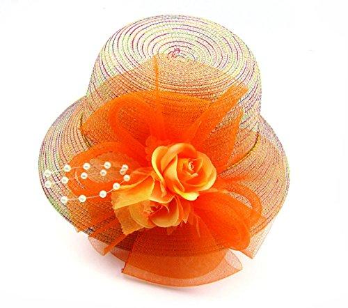 Fen Fun Net beads Rose Fascinator Headwear Flower Corsage Hair Clip Pin Brooch For Women Wedding Party (Orange)