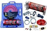 Absolute USA KITCAP0GARD 4.0 Farad Power Capacitor 0 Gauge Car Amplifier Installation Wiring Complete Kit (Red)
