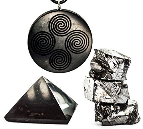 Wallystone Gems Shungite Set Polished Pyramid with Amazing Engraved Pendant and Elite Shungite Stones. Protective gift set.