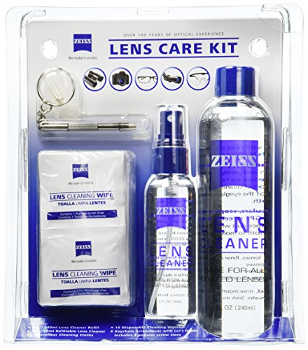 Zeiss Lens Care Kit - 8oz Lens Cleaner Refill, 2oz Refillable Lens Cleaner Spray, 2 Microfiber Cloth, 10 Individually Wrapped Cleaning Wipes, Keychain Screwdriver, 4 Screws (Glasses Kit Care)