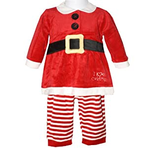 Baby Girls Red I Love Christmas Outfit Long Sleeve Dress Top with ...
