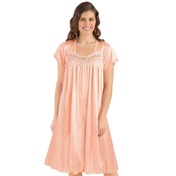 Collections Women\'s Lace Trim Tricot Short Sleeve Night Gown, Peach ...