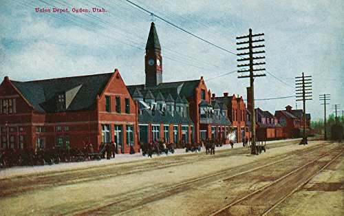 Utah Ogden Union (Ogden, Utah - Exterior View of Union Depot (12x18 SIGNED Print Master Art Print w/ Certificate of Authenticity - Wall Decor Travel Poster))