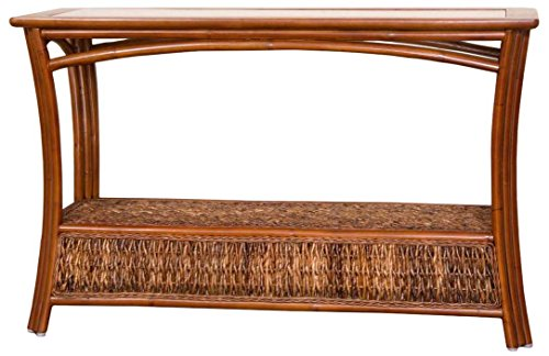 Alexander & Sheridan PAN023-SI Panama Sofa Table in Sienna Finish with Glass by Alexander Sheridan
