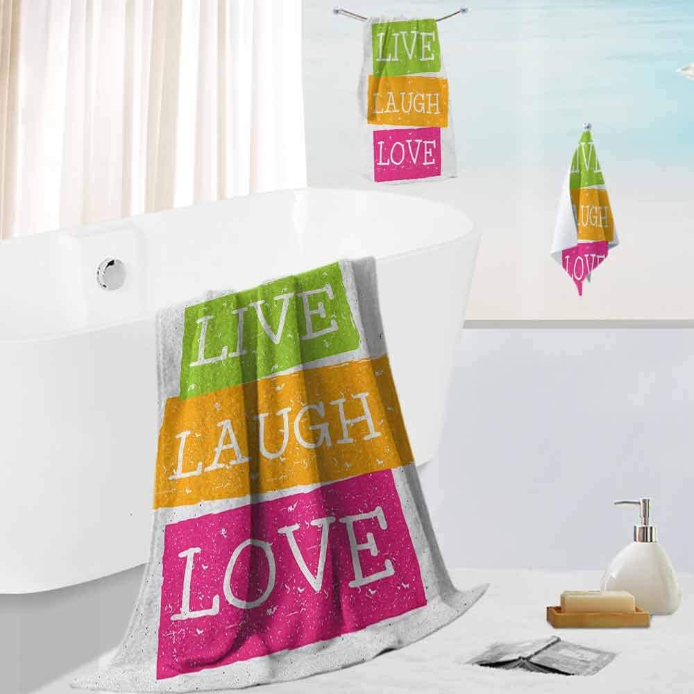 Live Laugh Love,3-Piece Bath Towel Set Lifestyle Message in Vibrant Tones Joyful Life Philosophy Wise Words Design Super Soft & Absorbent Fade Resistant Multicolor