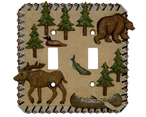 MOOSE bear Double Light SWITCHPLATE lodge switch plate by Bu Inc. (Switchplates Switch Accessory Double)