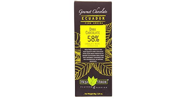 Hoja Verde Dark Chocolate 58%, 2.81 Ounce (Pack of 60): Amazon.com: Grocery & Gourmet Food