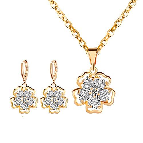 Flowers Gold Jewelry Set - Women Wedding Necklace Earring Set- Gold Flower Jewelry Sets Crystal Earrings Rhinestone Crystal Necklace Earrings for Girls Bridesmaid