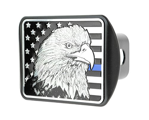 (USA US American Flag Eagle Metal Flag Emblem on Metal Trailer Hitch Cover (Fits 2