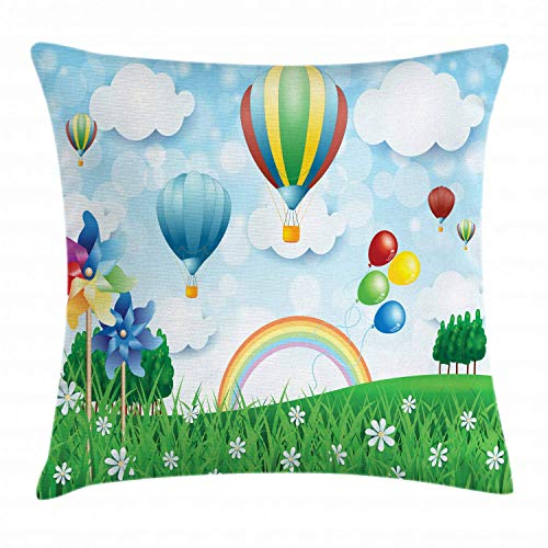 HFYZT Pinwheel Throw Pillow Cushion Cover, Floral Spring Field with Hot Air Baloons Rainbow Clouds Daisy Garden Landscape, Decorative Square Accent Pillow Case, 18 X 18 Inches, ()