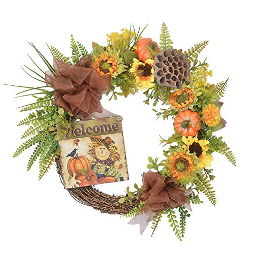 FAVOWREATH 2018 Vitality Series FAVO-W143 Handmade 15 inch Pumpkin,Welcome Letter,Grass,Sunflowers,Halloween Wreath for Fall Front Door/Wall/Fireplace Floral Hanger Home Every Day Decor