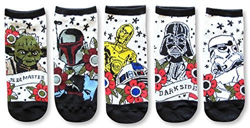 Star Wars Tattoo Inspired Art Vader Fett Yoda Juniors/Womens 5 Pack Ankle Socks Size 4-10 from Star Wars
