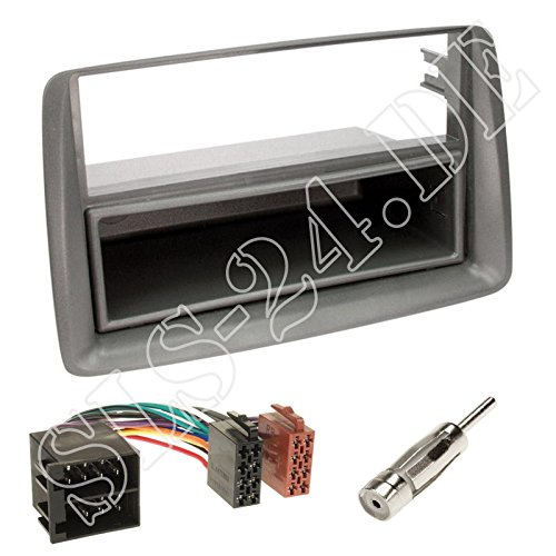 Einbauset : Autoradio Doppel-DIN 2-DIN Radioblende Radio Blende Halterung mit Ablagefach grau + ISO Radioanschlusskabel / Radio Adapter + Antennenadapter fü r Fiat Panda (169) 10/2003 - 2012 Schlauer-Shop24 FI-11