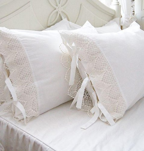One Piece Shabby Victorian Style White Wide Lace Matching Pillowcase Sham 1117 (Standard 20x30)