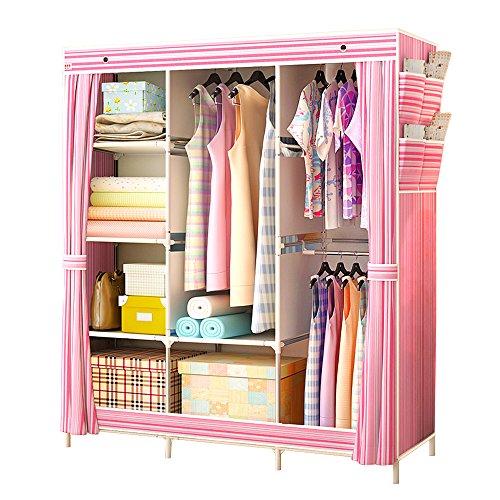 portable-storage-organizer-wardrobe-closet-shoe-rack-assemble-easy-69-x-51-x-175-15-cubic-ft-pink