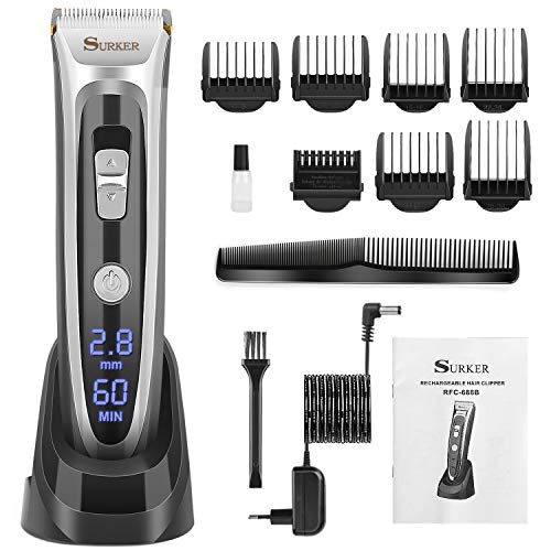 Professional Cordless Hair Clipper, Electric Hair Trimmer Beard Shaver Haircut Kit Ceramic Blade Rechargeable Battery LED Display for Men and Family Use