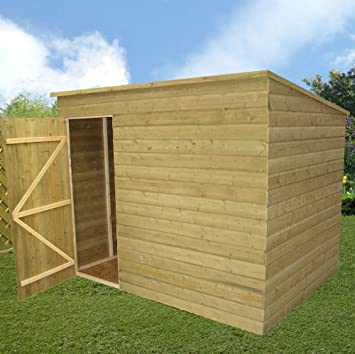 wooden garden shed 7x6 preesure treated pent shed tongue and groove no windows door left - Garden Sheds 7x6