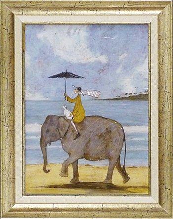 「ぞうに乗って」サムトフト可愛い雰囲気の特殊ゲル加工アート[絵画通販] B00H7DOH4S