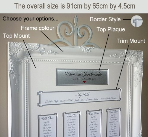White Luxury Wedding Seating Plan Frame - Large Baroque style ...