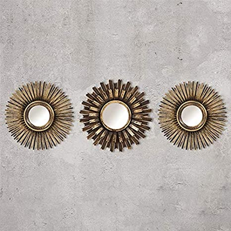 Decorativo da Parete Decorazione Casa Shabby Chic Argento HomeZone 3Pc Shabby Chic Rotondo a Raggiera Muro Specchi in Decap/é Oro o Argento