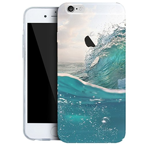 iPhone SE / 5 5S Cover,TYoung Colorful Embossing Landscape Creative Pattern Ultra Slim Soft TPU Flexible Silicone Case Transparent Clear Cover Skin Protector - Sea Waves Premium Wave Silicone Skin