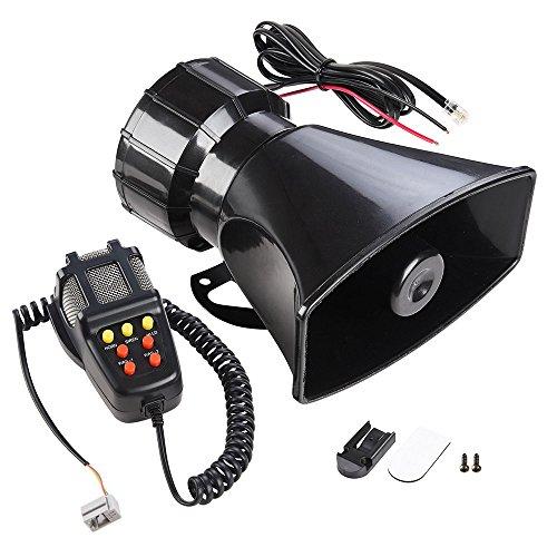 Yescom 7 Sound Loud Horn Car Warning Alarm Police Fire Siren PA Speaker with Microphone Emergency Amplifier