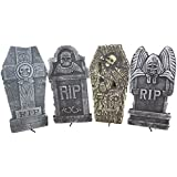 "Set of 4 Realistic 16"" Asst. Halloween Foam Tombstones, Props, Graveyards, Haunted House, Yard Decorations and Accessories"