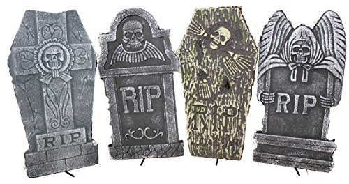 Tombstone Halloween Decorations (Set of 4 Realistic 16