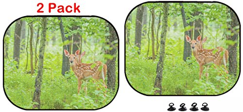 Luxlady Car Sun Shade Protector Block Damaging UV Rays Sunlight Heat for All Vehicles, 2 Pack Image ID: 29823275 Whitetail Deer Fawn Standing in The Woods