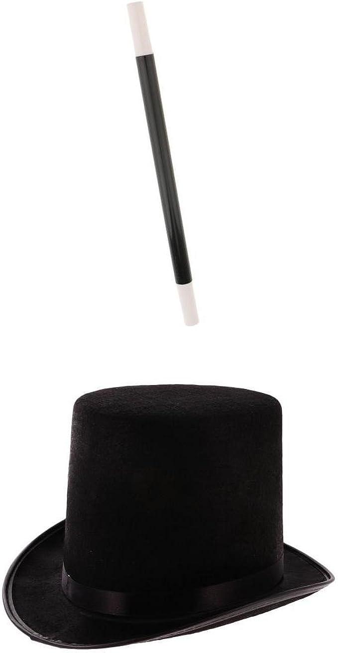 Sharplace Sombrero Negro con Varita Adultos Mago Bruja Disfraz Herramienta de Artesanía de Costura