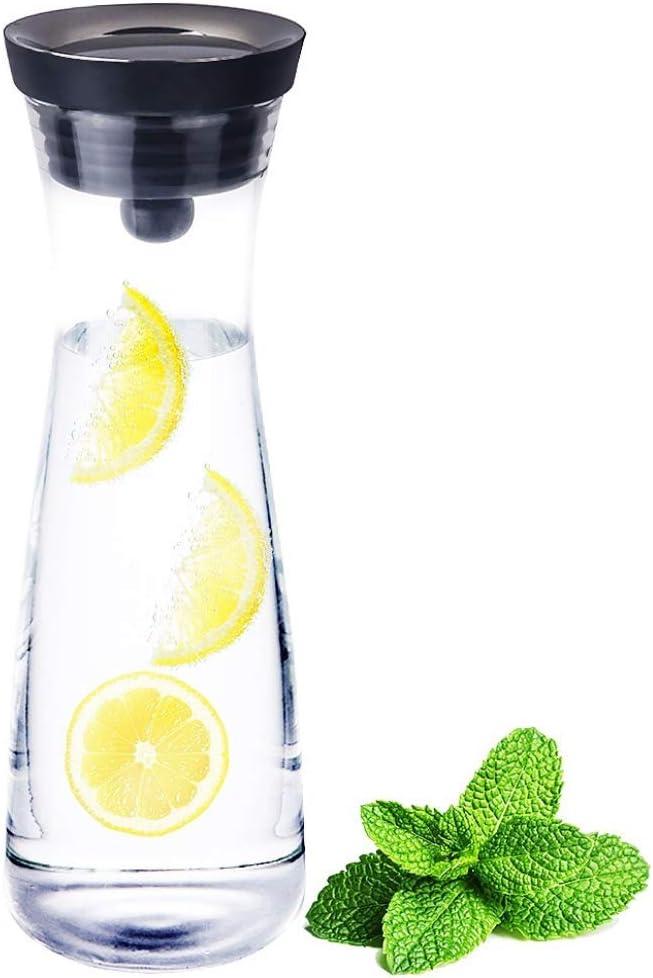 Caraffa per acqua calda per t/è e bevande ghiacciate Brocca per acqua in vetro con coperchio 1200 ml Brocca per succhi di frutta
