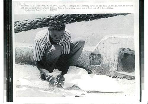Prince Mens Spur - Vintage photo of Haiti port au prince:hunger poverty spur an old man.