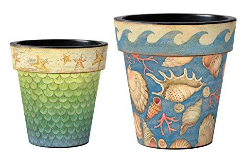 Studio M AP25061 Durable Coordinating Planter Pots, 2 Sizes, Mermaid Tail and Ocean Sea Shells ()