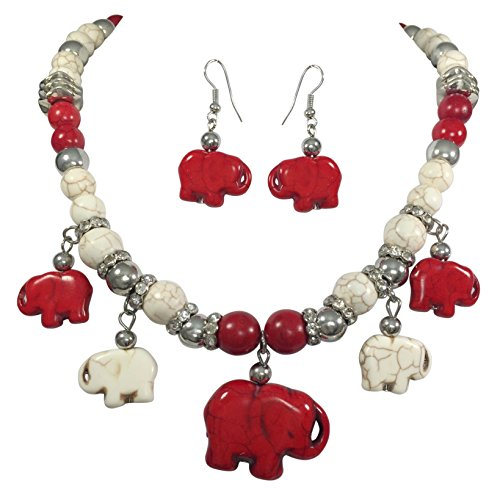 - Gypsy Jewels 5 Red and Off White Stone Elephant Beaded Necklace and Dangle Earring Set