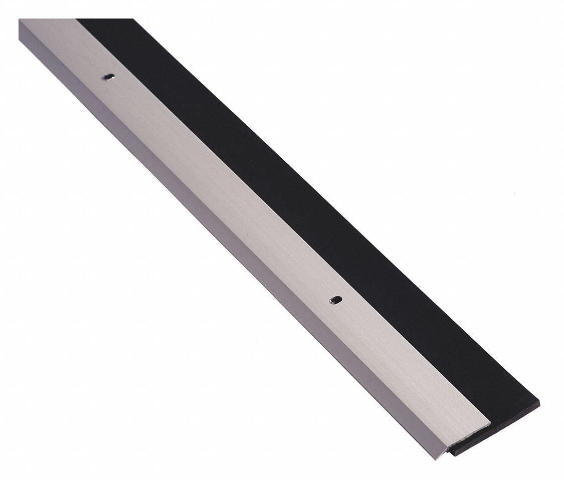 Door Sweep, Anodized Aluminum, 4 ft. Length, 1-1/4'' Flange Height, 1-3/16'' Insert Size