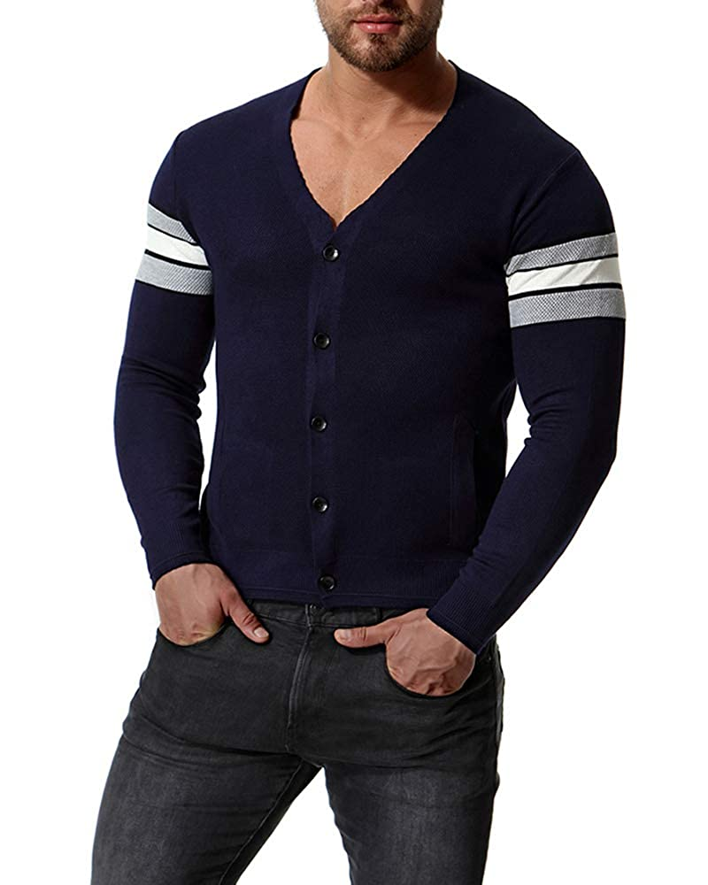 Maglione da Uomo,Camicia da Uomo Scollo a V,Slim Cardigan in Maglia Tinta Unita con Tasche