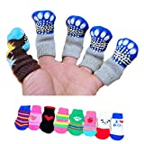 4 Pcs Fashion Cute Puppy Dog Pet Knits Socks Anti Slip Skid Bottom Mini Socks size S