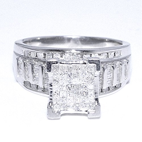 amazoncom 1cttw diamond wedding ring 3 in 1 style sterling silver 10mm wide princess cut diamonds midwestjewellery jewelry - Silver Diamond Wedding Rings