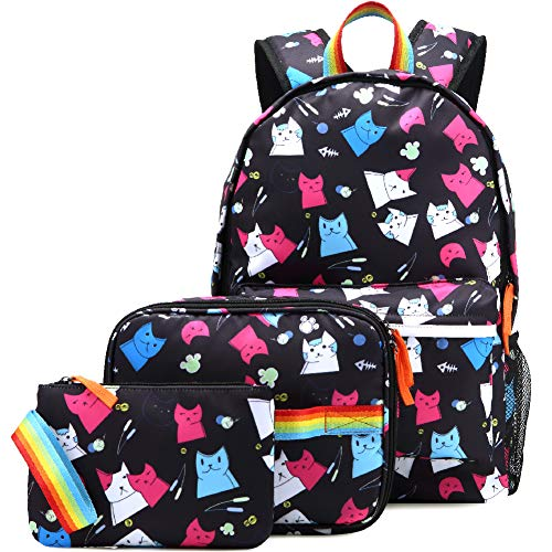 Kemy's Cat Backpack Set for Girls Kitty School Bookbag 3 Pieces Cute Rainbow Book Bags 14inch Laptop Bag for Girl, Black
