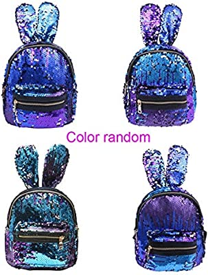 Amazon.com: Mini Sequins Backpack Cute Rabbit Ears Shoulder Bag for Women Girls Travel Bag Bling Shiny Backpack Mochila Feminina Escolar New L Blue: Kitchen ...