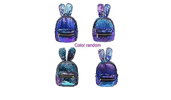 Amazon.com: Mini Sequins Backpack Cute Rabbit Ears Shoulder Bag for Women Girls Travel Bag Bling Shiny Backpack Mochila Feminina Escolar New L Blue: Kitchen ...