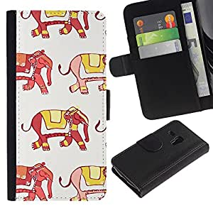 Samsung Galaxy S3 MINI / i8190 (Not For Galaxy S3) Modelo colorido cuero carpeta tirón caso cubierta piel Holster Funda protección - Elephant India Fashion Yellow Red White