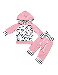 OUTGLE Newborn Baby Girl Heart Print Hoodie Top + Trouser Fall Clothing Set Outfits
