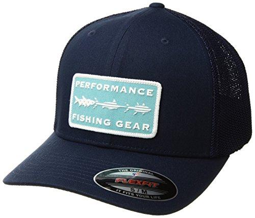 Cap Hat Flex (Columbia PFG Mesh Ball Cap, Collegiate Navy Fish Trio, Large/X-Large)