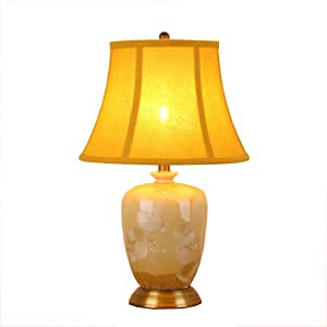 SLH Ceramic Table Lamp Warm Bedroom Bedside Lamp Yellow Crystallization Glaze Ceramic Desk Lamp