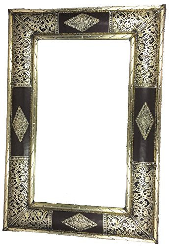 Handmade Moroccan Arabesque Silver and Wood Wall Mirror