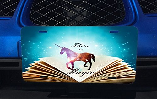 there-is-magic-quote-spell-book-unicorn-design-print-image-aluminum-license-plate-for-car-truck-vehi